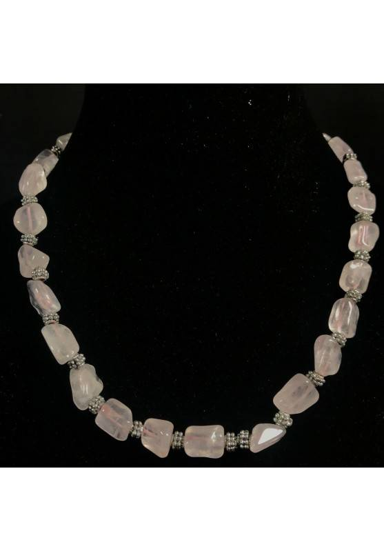 Necklace Chips in HYALINE Quartz & Iron Color Silver Vintage Gift Idea A+-1