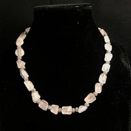 Necklace Chips in HYALINE Quartz & Iron Color Silver Vintage Gift Idea A+-4