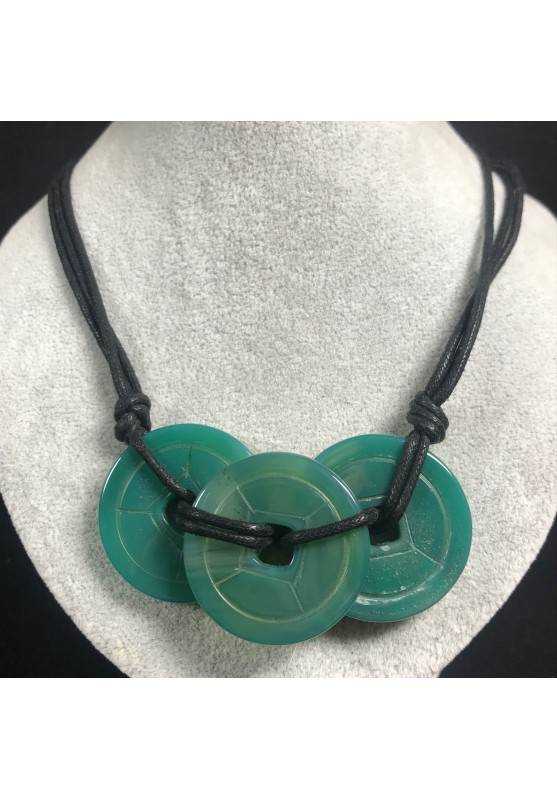Necklace with Charm in Green Agate Jewel Bijou Gift Idea Woman Collier MINERALS A+-1