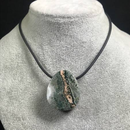 Pendant Gemstone in Orbicular Ocean JASPER Green Rarissimo Jewel Gift Idea A+-1