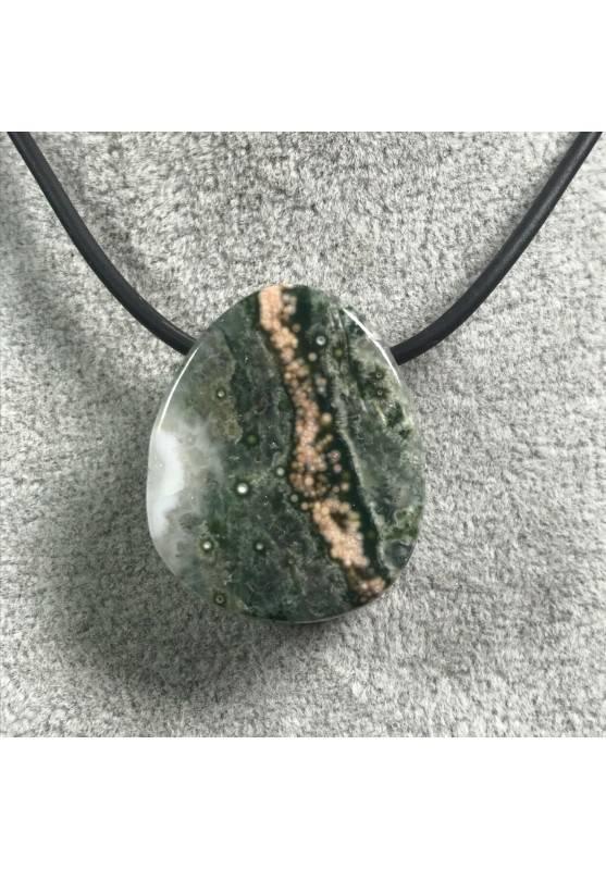 Pendant Gemstone in Orbicular Ocean JASPER Green Rarissimo Jewel Gift Idea A+-2