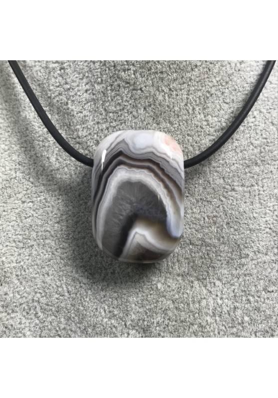 CIONDOLO GEMMA in AGATA VIOLA-GRIGIA Minerali Bijou Collana Regalo Gioiello-1