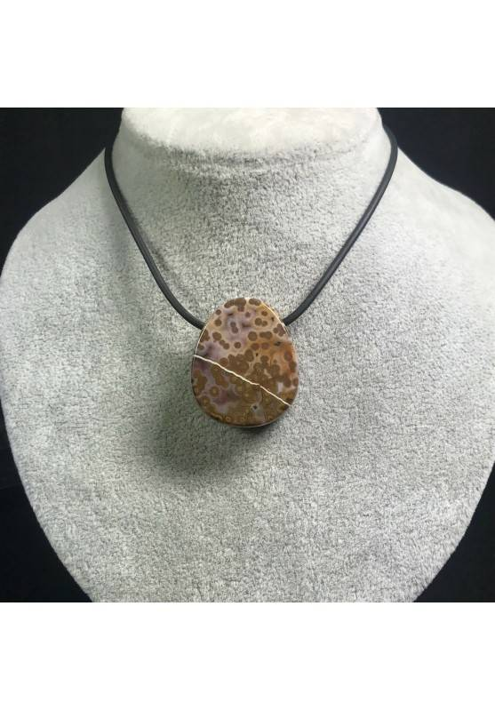 Pendant Gemstone in Orbicular Ocean JASPER Brown -Purple Gift Idea Jewel A+−3