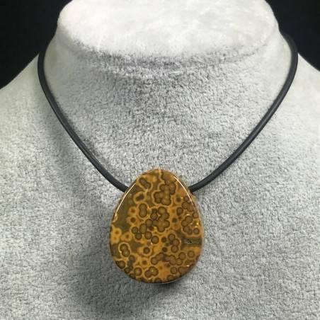 Pendant Gemstone in Orbicular Ocean JASPER Brown Gift Idea Bijou Jewel A+-1