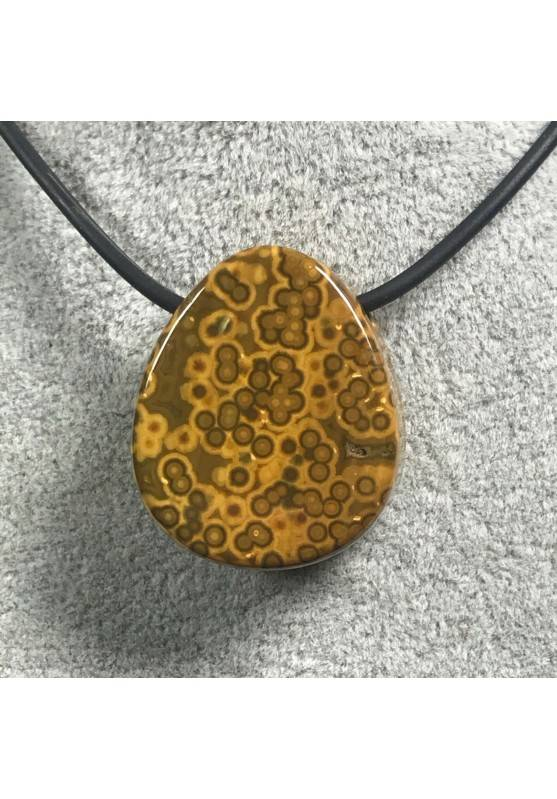 Pendant Gemstone in Orbicular Ocean JASPER Brown Gift Idea Bijou Jewel A+-2