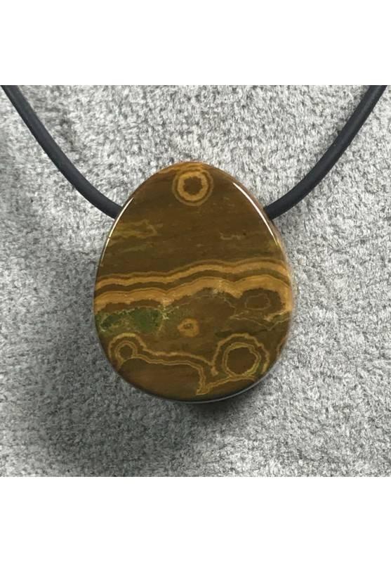 Pendant Gemstone in Orbicular Ocean JASPER Brown Gift Idea Bijou Jewel A+-6