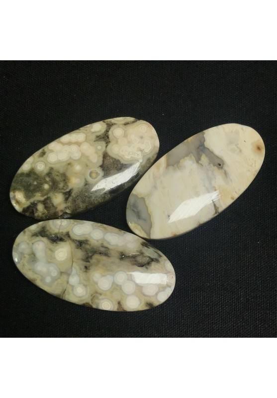 CIONDOLO GEMMA in DIASPRO ORBICOLARE OCEANICO CHIARO Minerali Regalo Gioiello A+-3