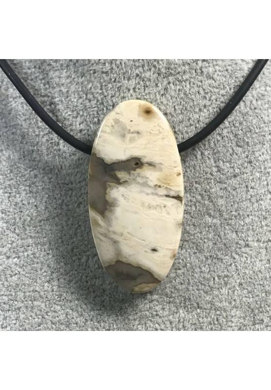 CIONDOLO GEMMA in DIASPRO ORBICOLARE OCEANICO CHIARO Minerali Regalo Gioiello A+-4