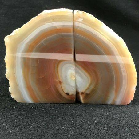 MINERALS * Polished Agate Geode Paperweight Grey / Brown Specimen Gift Idea−3