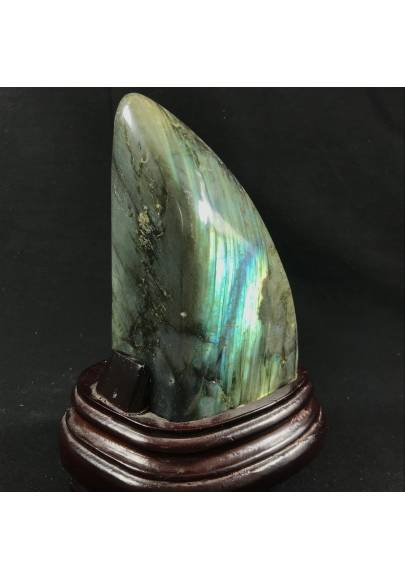 MINERALS * Gorgeous LABRADORITE KING Quality Specimen with Wood STAND A+-1