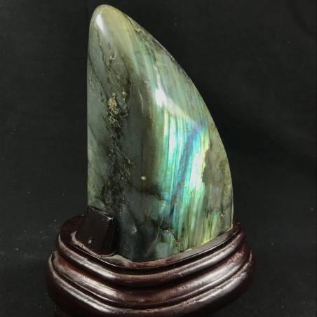 * Minerali * Stupenda LABRADORITE DEL RE da Collezionismo con BASE in Legno A+-1