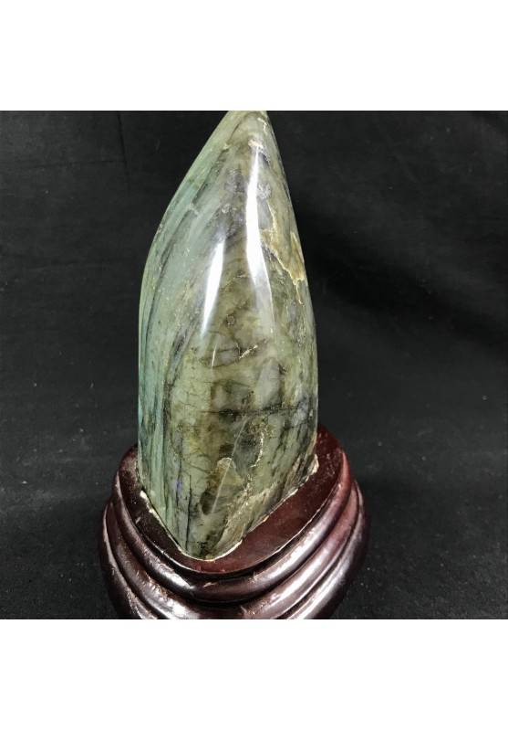 * Minerali * Stupenda LABRADORITE DEL RE da Collezionismo con BASE in Legno A+-4