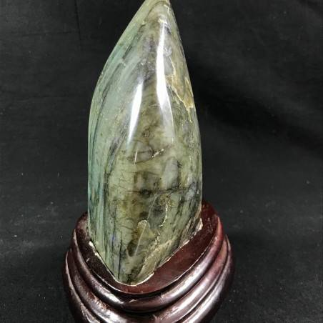 MINERALS * Gorgeous LABRADORITE KING Quality Specimen with Wood STAND A+-4