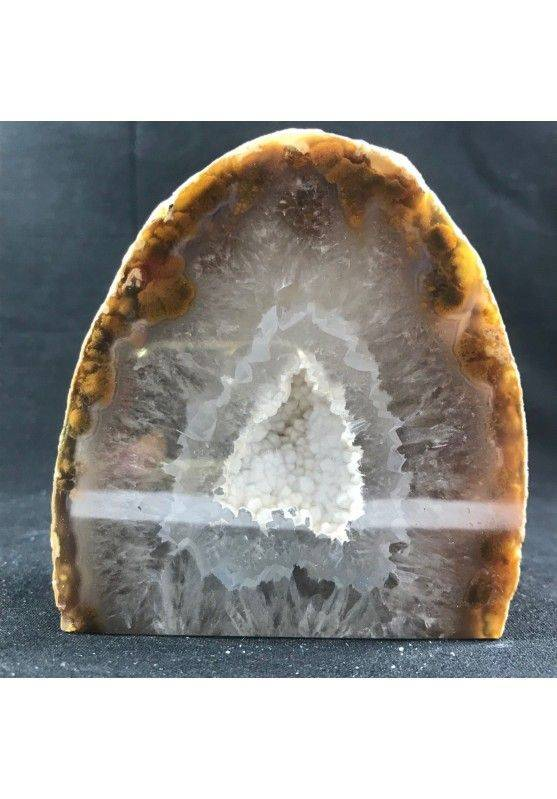 MINERALS * Polished Grey AGATE Geode Paperweight Natural Crystal -1