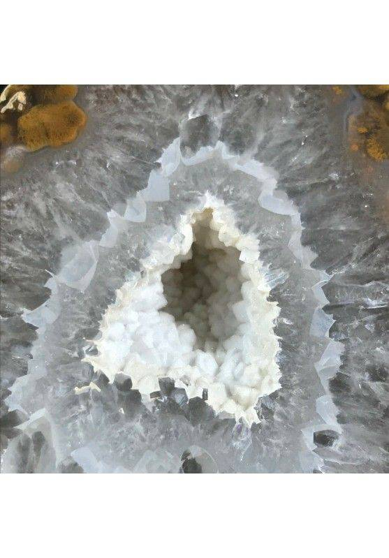 MINERALS * Polished Grey AGATE Geode Paperweight Natural Crystal -2
