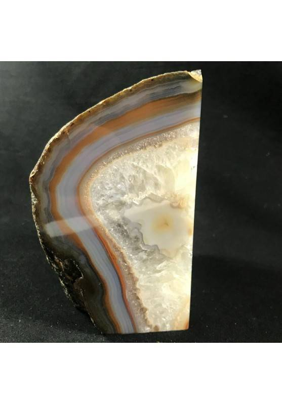 MINERALS * Polished Agate Geode Paperweight Grey / Brown Specimen A+-4