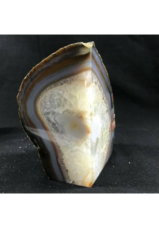 * Minerali * FERMACARTE in AGATA NATURALE Grigia-Marrone da Collezionismo A+-5