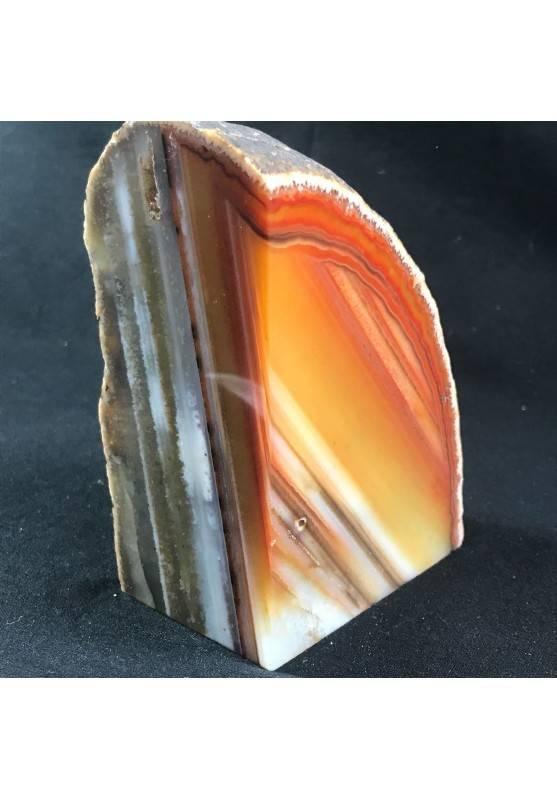 * Minerali * FERMACARTE in AGATA NATURALE Marrone da Collezionismo A+ Fermafogli-1