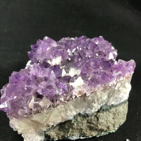 MINERALS * Dark AMETHYST Quartz Crystal Cluster URUGUAY 926g with CALCITE A+-6