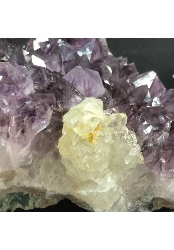 MINERALS * Dark AMETHYST Quartz Crystal Cluster URUGUAY 725g with CALCITE A+ Crystals−3