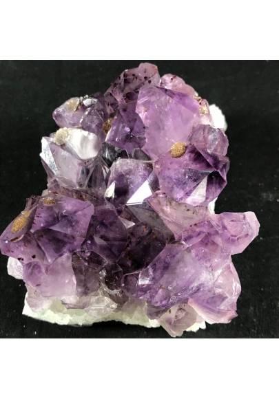 MINERALS * Dark AMETHYST Quartz Crystal Cluster URUGUAY 653g with Gold CALCITE  A+-1