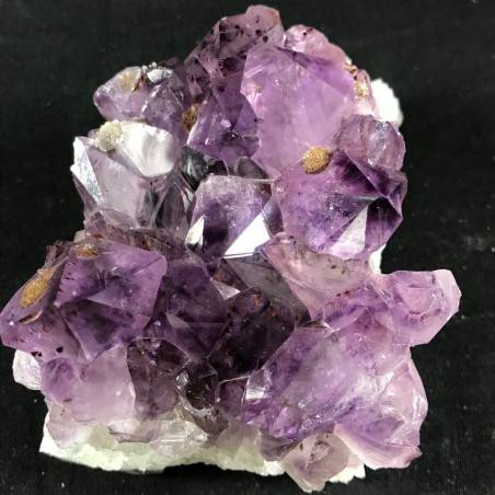 MINERALS * Dark AMETHYST Quartz Crystal Cluster URUGUAY 653g with Gold CALCITE  A+-1
