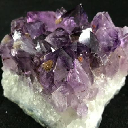 MINERALS * Dark AMETHYST Quartz Crystal Cluster URUGUAY 653g with Gold CALCITE  A+−3