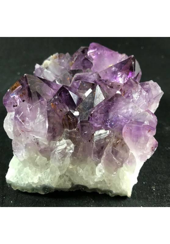MINERALS * Dark AMETHYST Quartz Crystal Cluster URUGUAY 653g with Gold CALCITE  A+-4