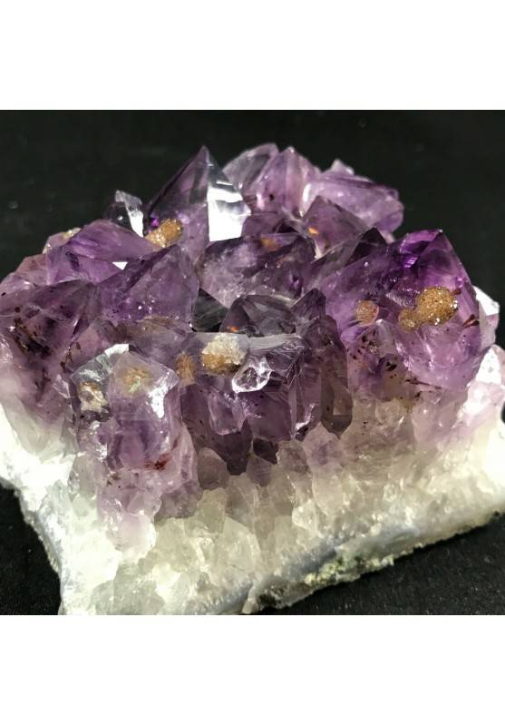 MINERALS * Dark AMETHYST Quartz Crystal Cluster URUGUAY 653g with Gold CALCITE  A+-5
