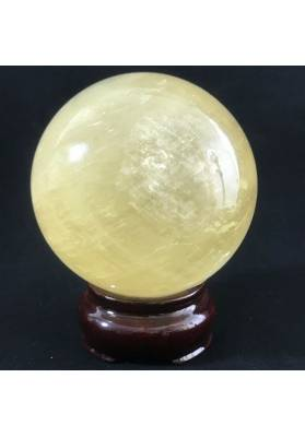 MINERALS * Wonderful YELLOW CALCITE SPHERE with Stand Crystal Healing-2