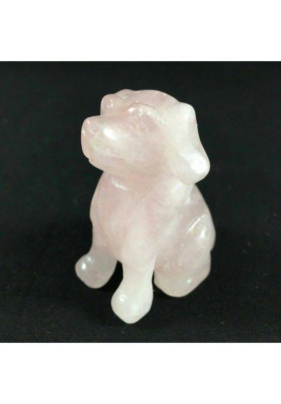 ROSE Quartz DOG Medium ANIMALS Crystal Healing Gift Idea A+ MINERALS Reiki Casa-1