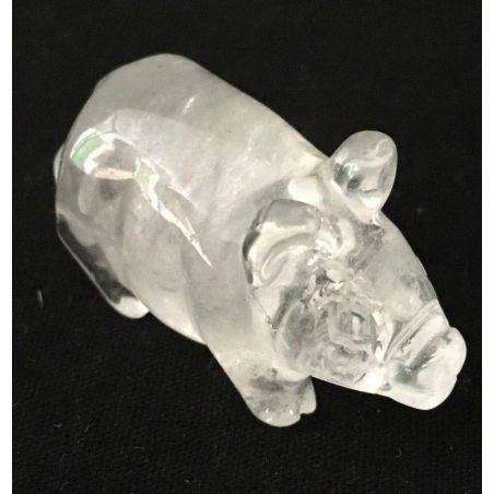 Pig in Hyaline Quartz Rock CRYSTAL ANIMALS in Stone MINERALS Casa A+-2