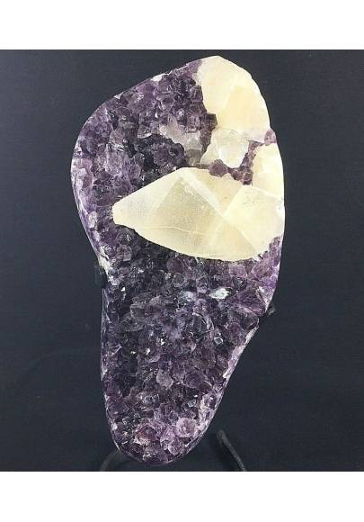 MINERALS BIG Uruguay AMETHYST DRUZY on Stand with Bright CALCITE Rare Quality!!-1