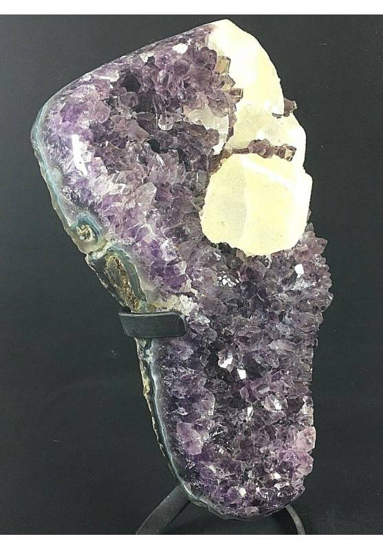 MINERALS BIG Uruguay AMETHYST DRUZY on Stand with Bright CALCITE Rare Quality!!−3
