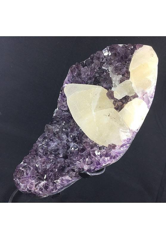 MINERALS BIG Uruguay AMETHYST DRUZY on Stand with Bright CALCITE Rare Quality!!-4