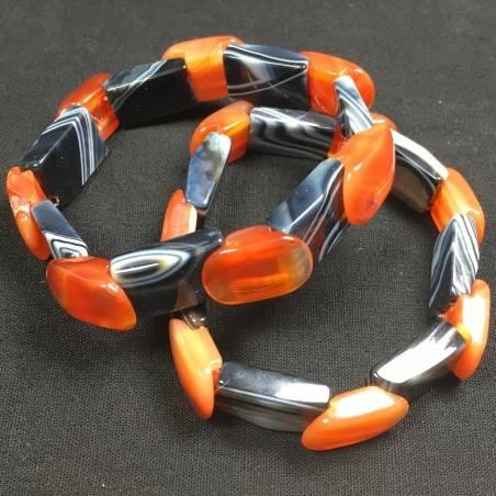 Bracelet in CARNELIAN & BLACK AGATE MINERALS Crystal Healing Zen Gemstone A+−3