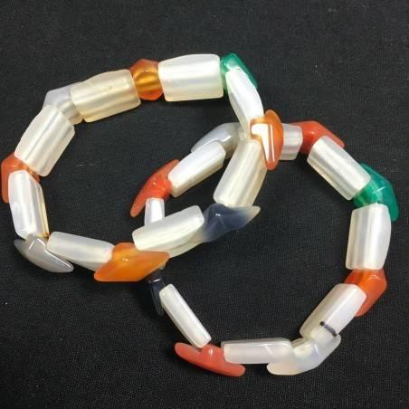 Bracciale in AGATA MISTA Colore Minerali Braccialetto Cristalloterapia Chakra A+-3