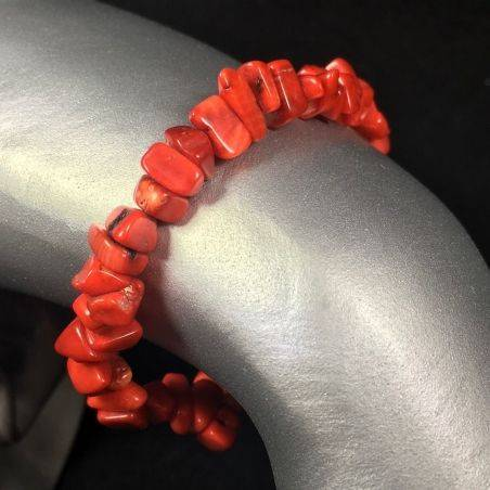 Tumbled Chips Bracelet RED CORAL MINERALS Crystal Healing Chakra A+-1