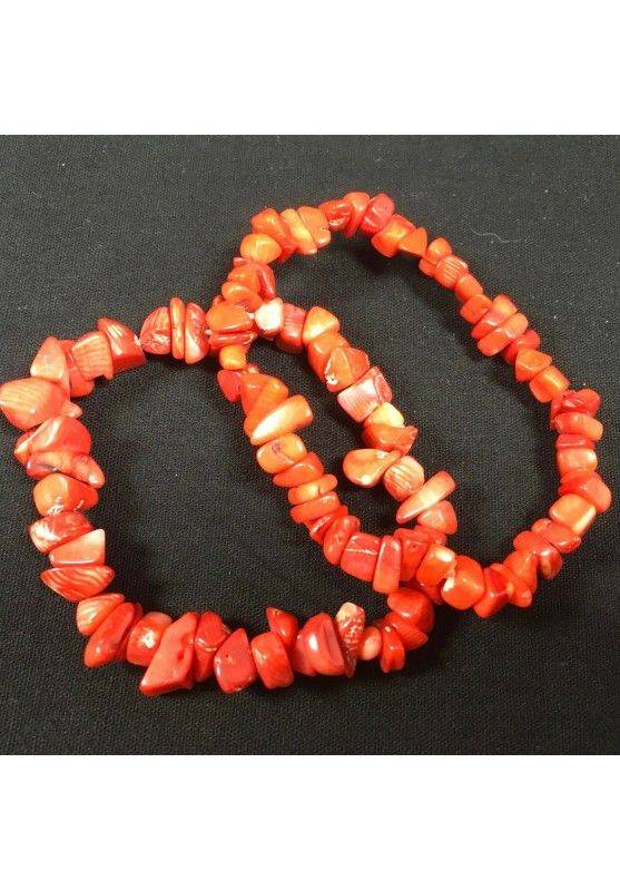 Tumbled Chips Bracelet RED CORAL MINERALS Crystal Healing Chakra A+−3