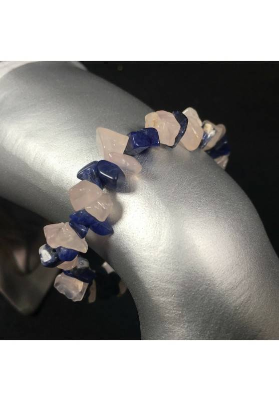 Bracelet in SODALITE and ROSE QUARTZ Crystal Healing Elasticated Chakra Zen A+-1