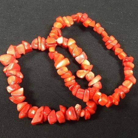 Tumbled Chips Bracelet RED CORAL Love Crystal Healing Chakra Minerals A+−3