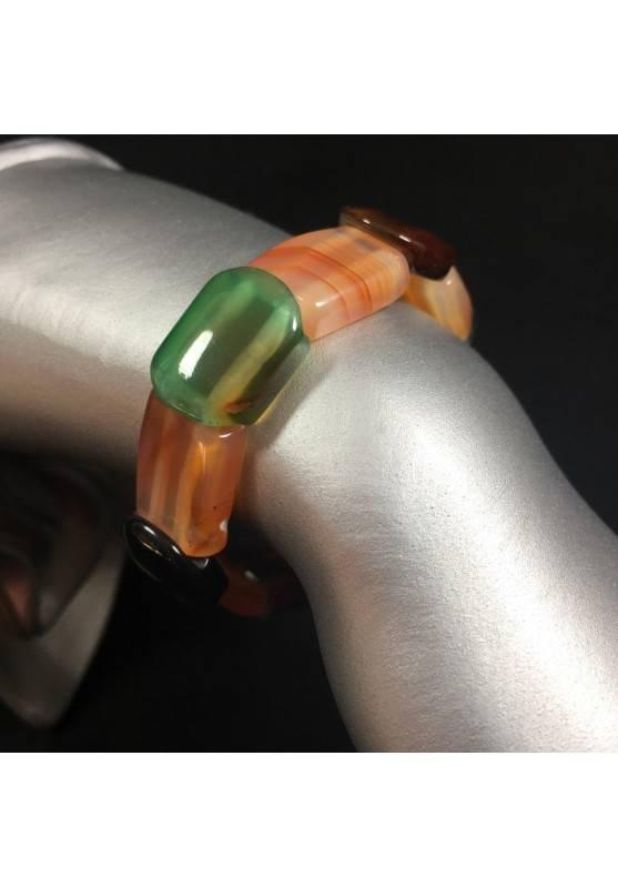 Bracciale in AGATE MISTE Colore Braccialetto Cristalloterapia Chakra Reiki A+-1