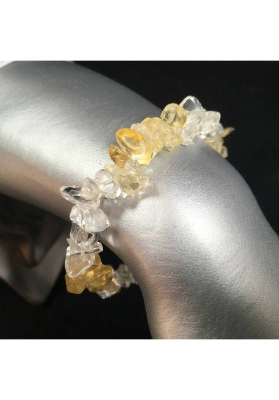 Bracelet in Clear Quartz & CITRINE Yellow QUARTZ Chips Crystal Healing Zen A+-1