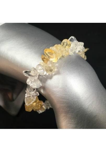 Bracelet in Clear Quartz & CITRINE Yellow QUARTZ Chips Crystal Healing Zen A+-1