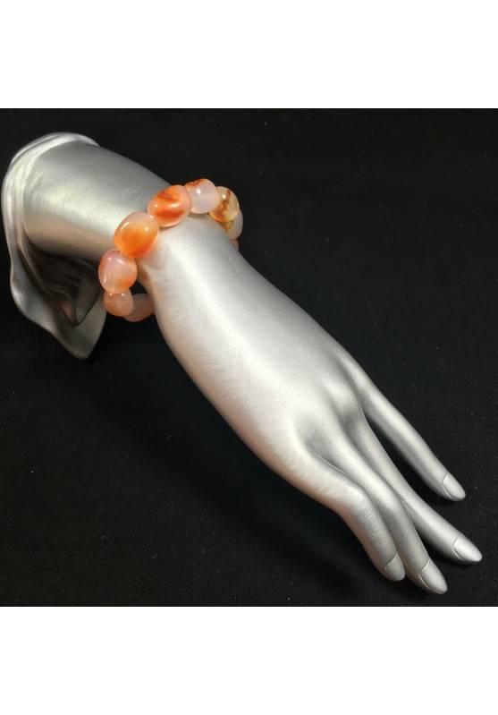 Bracciale BURATTATO di CORNIOLA Braccialetto Cristalloterapia Leone Toro Zen A+-2