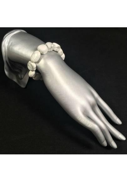 Bracciale Burattato di HOWLITE Braccialetto Cristalloterapia Qualità Reiki A+-1