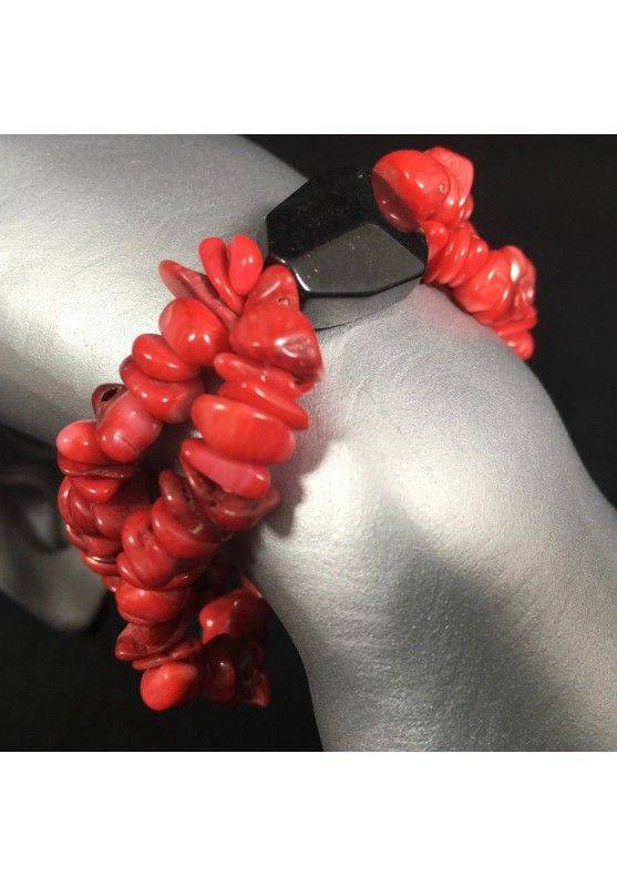 Tumbled Chips Bracelet RED CORAL with BLACK ONIX Crystal Healing A+-1