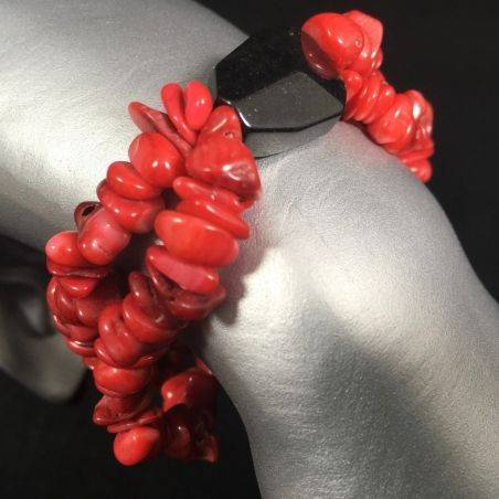 Tumbled Chips Bracelet RED CORAL with BLACK ONIX Love Crystal Healing-1