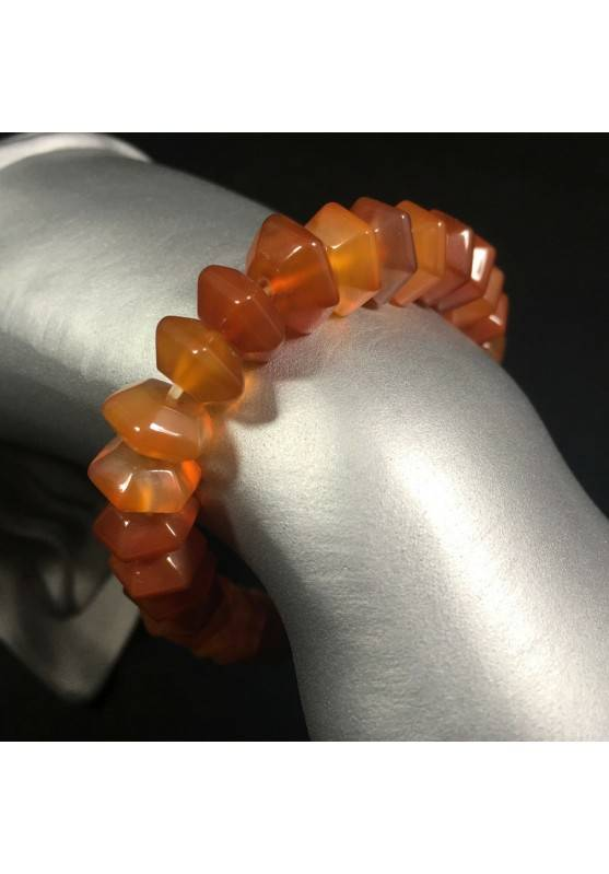 Faceted CARNELIAN AGATE Bracelet Crystal Healing Chakra A+-1