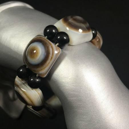 LARGE Buddha's Eye AGATE Bracelet Crystal Healing Chakra Zen Reiki Feng Shui A+-1